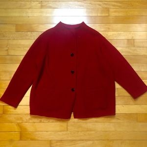 Eileen Fisher Red Boiled Wool Mockneck Jacket